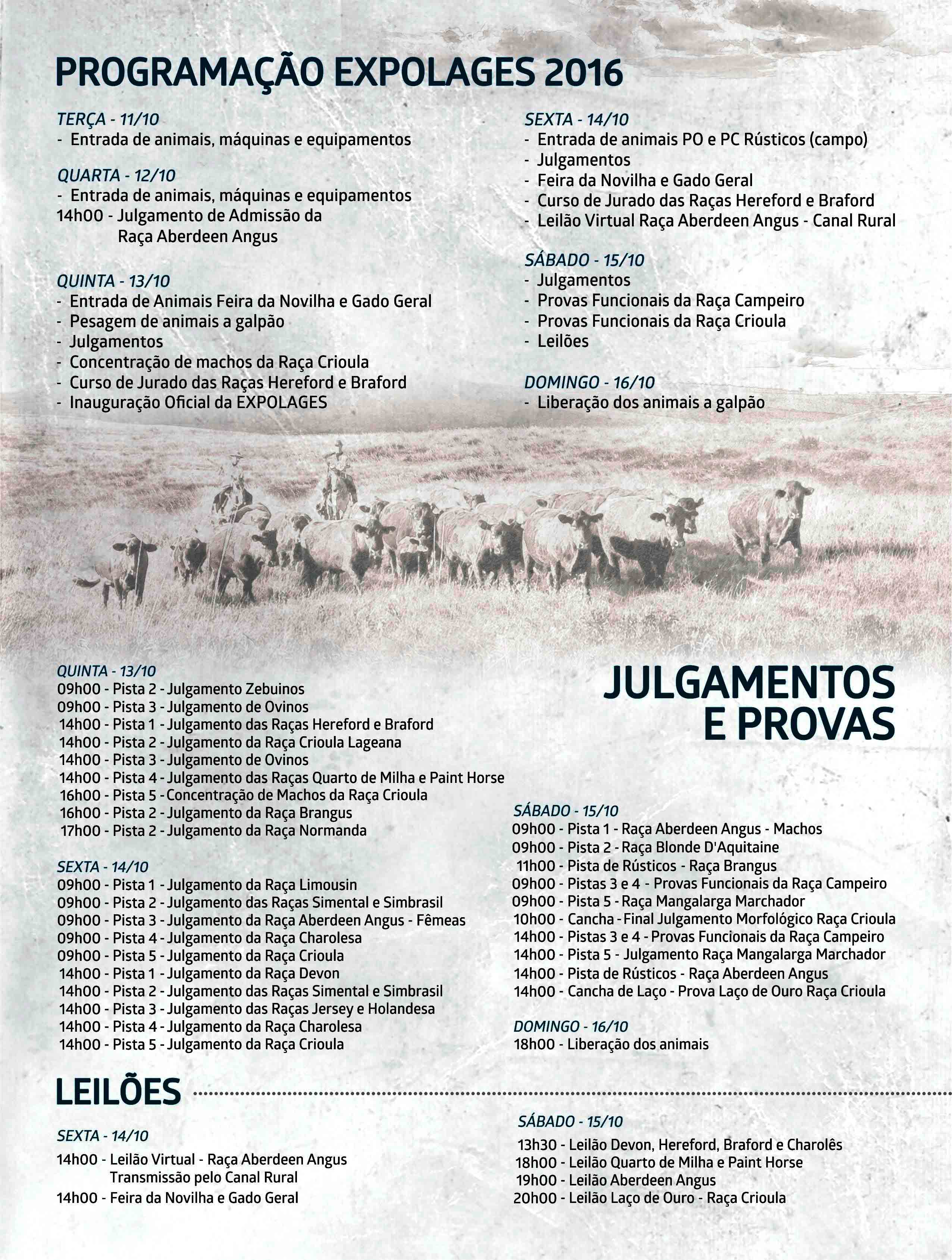 Confira a programação completa do evento que ocorre do dia 11 ao dia 16 de  Outubro em Lages -SC. 0ce6f7e8899